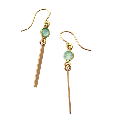 Aqua Chalcedony Gold Bar earrings
