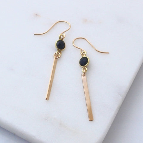 Gold Bar earrings with black onyx