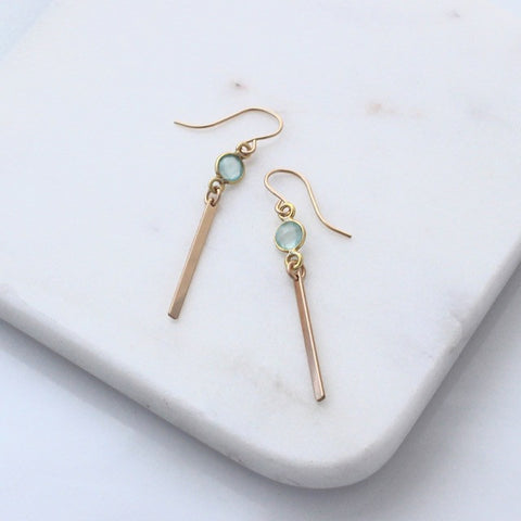 Gold Bar earrings with aqua gemstones