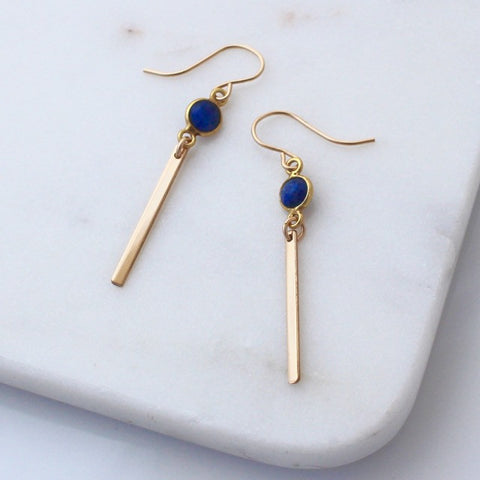 blue lapis lazuli gold bar earrings