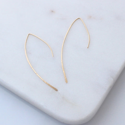 Gold Arc ear threader earrings
