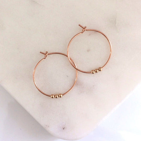 Small Beaded Rose Gold Hoop earrings