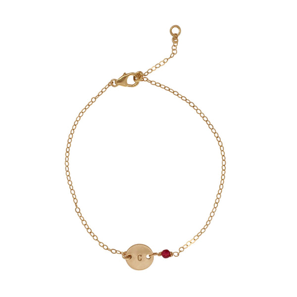 Gold Birthstone bracelet - July - Ruby