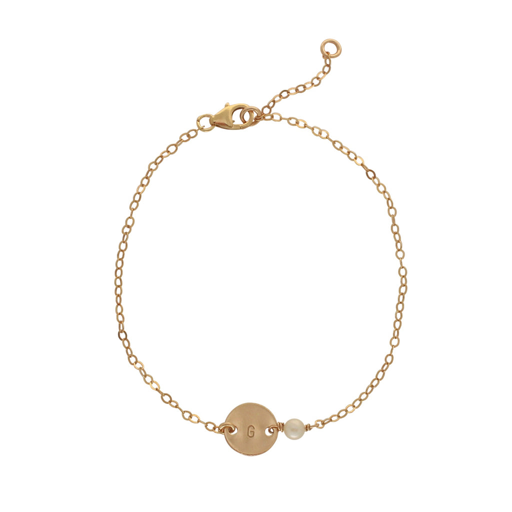 Gold Birthstone bracelet - June - Pearl