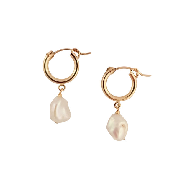 Keshi Pearl gold hoop earrings