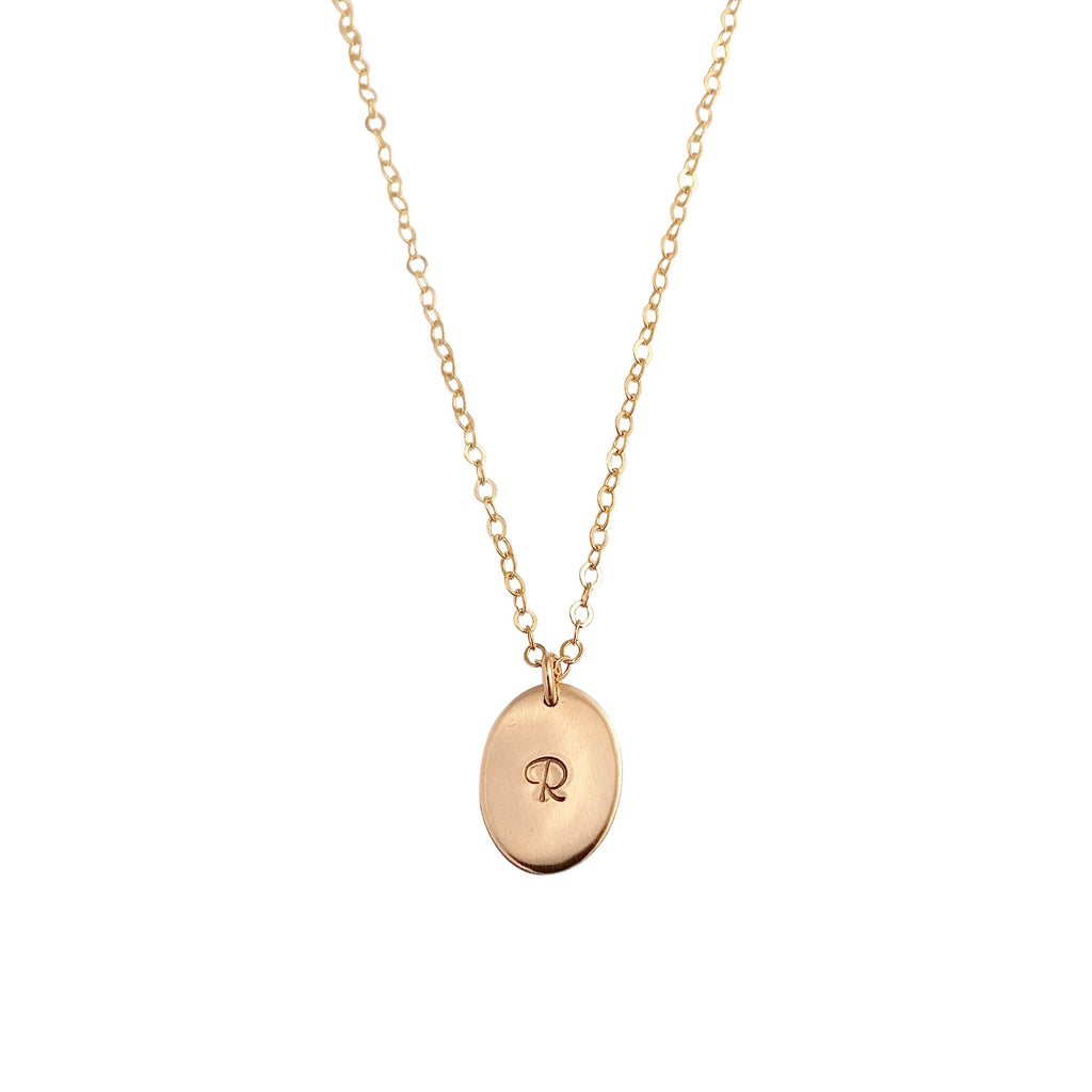 Personalised Gold Oval necklace - large