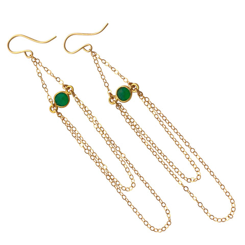 Chain earrings in Green Onyx