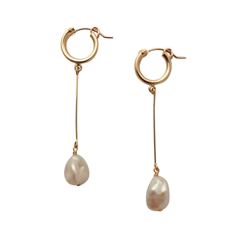 Long Keshi Pearl hoop earrings