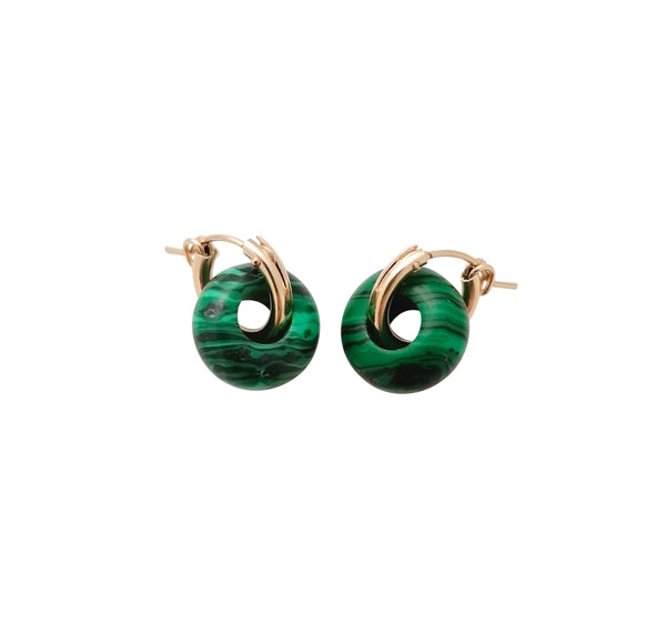 Malachite ear huggers