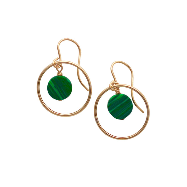 Malachite Gold Circle earrings