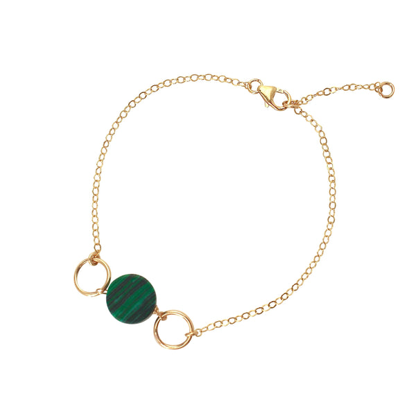 Malachite gold circle bracelet
