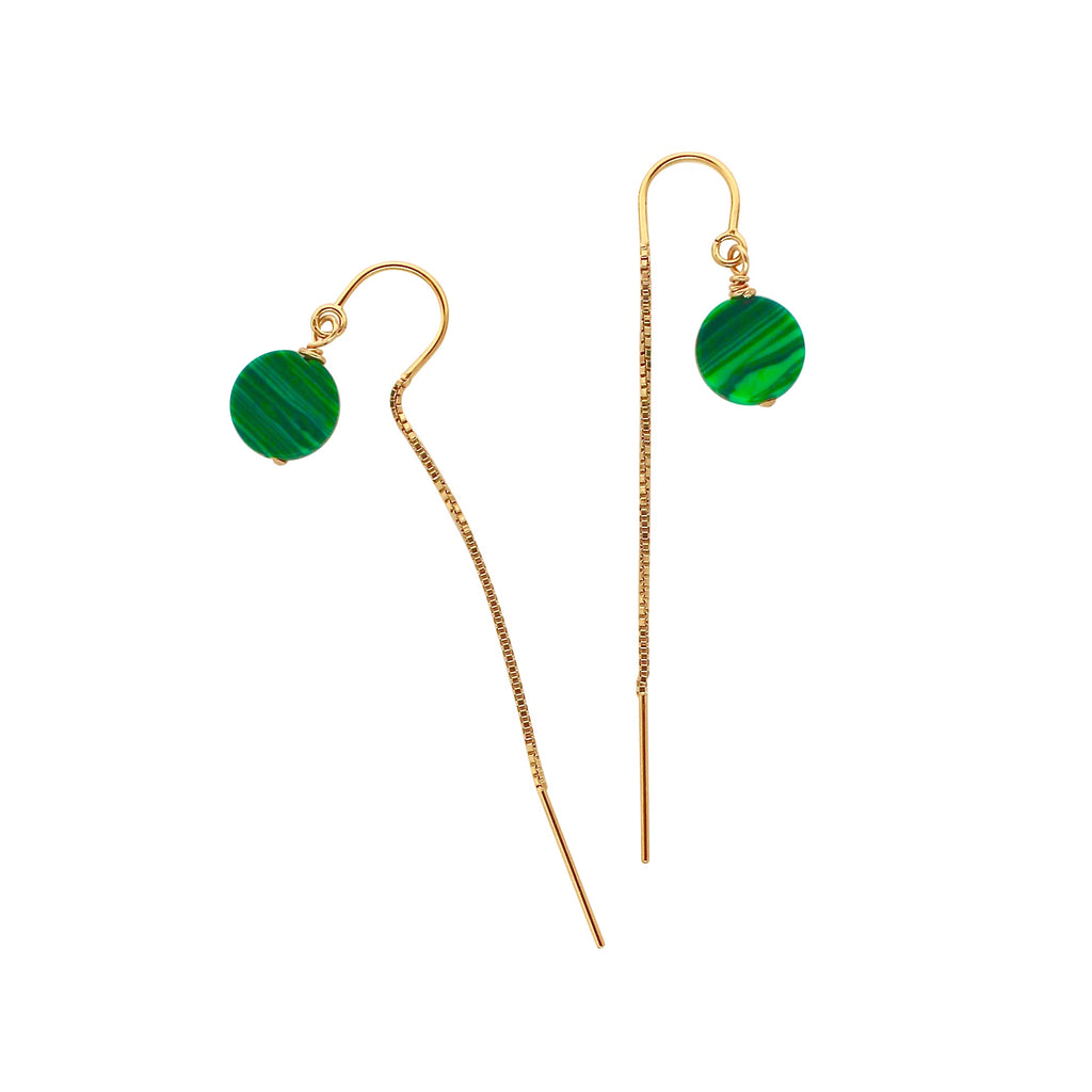 Malachite Gold Chain earrings