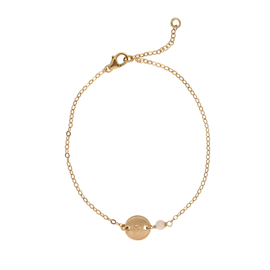 Gold Birthstone bracelet - October - Opal