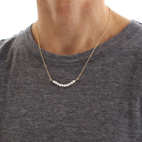 Freshwater Pearl Skinny Bead Bar necklace
