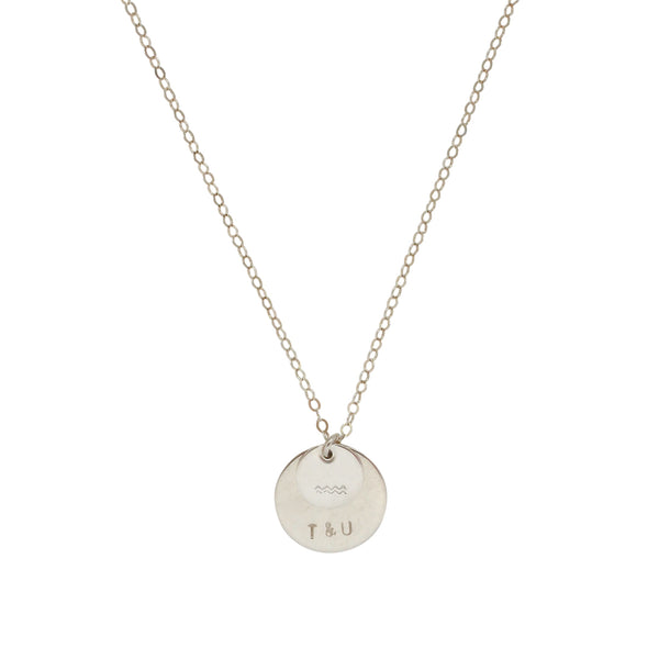 Personalised Silver Double Disc necklace