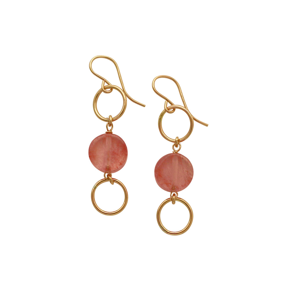 Pink quartz circle earrings
