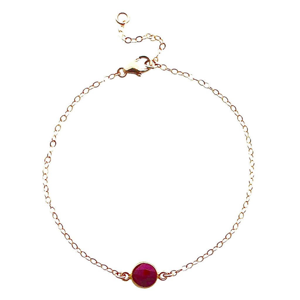 Ruby Gemstone Single Drop bracelet