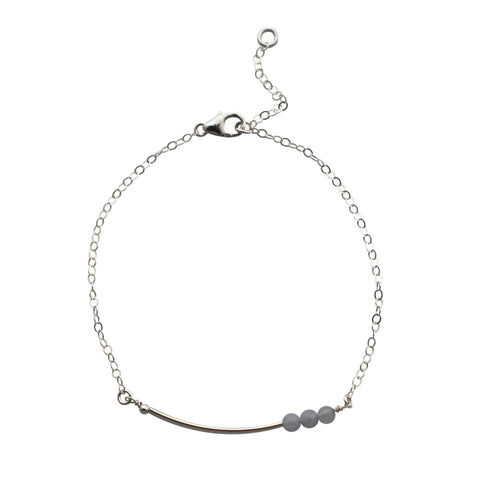 Sterling Silver curved bar bracelet - agate