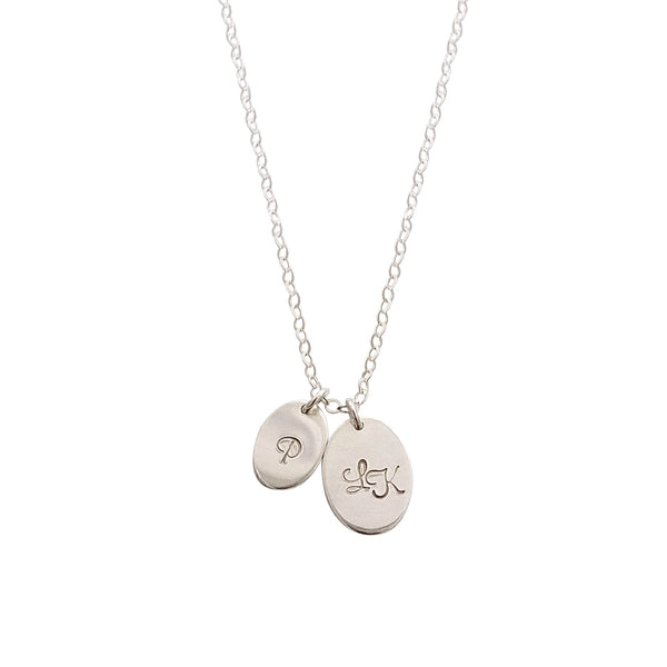 Double Disc Silver Oval Personalised necklace