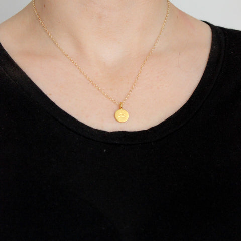 Gold Zodiac Sign necklace - on model
