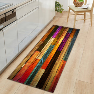 Nordic Kitchen Mat Bedroom Entrance Doormat Home Hallway Floor Decoration Living Room Carpet Wood grain Bathroom Anti-Slip Rug