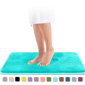 Home Bath Mat Non-Slip Bathroom Carpet Soft Coral Fleece Memory Foam Rug Mat Kitchen Toilet Floor Decor Washable 8 Colors