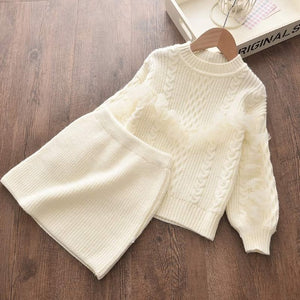 Bear Leader Girls Winter Clothes Set Long Sleeve Sweater Shirt Skirt 2 Pcs Clothing Suit Bow Baby Outfits for Kids Girls Clothes