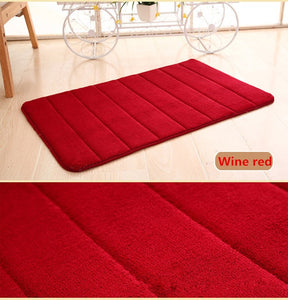 1PC 40x60cm Home Bath Mat Non-slip Bathroom Carpet Soft Coral Fleece Washable Rug Mat kitchen Toilet Floor Decor