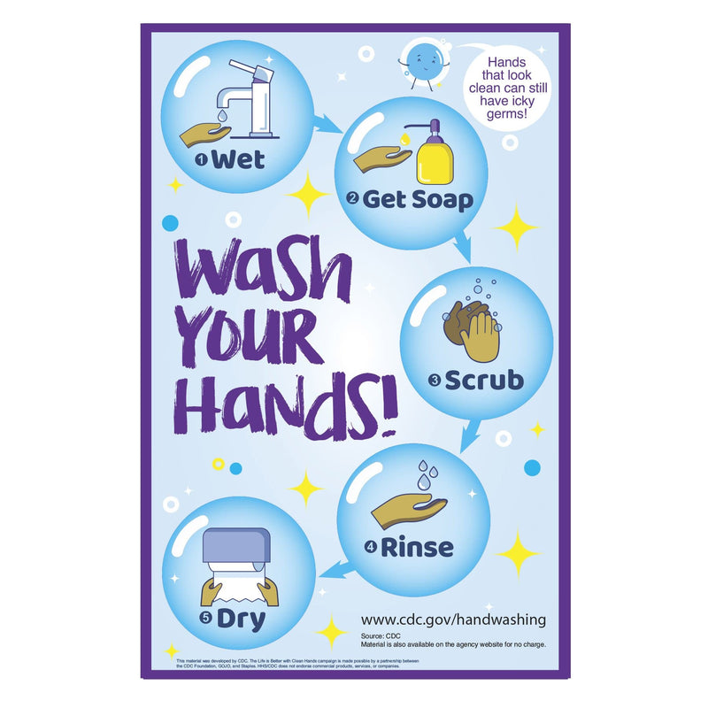 CDC Wash Your Hands Bubbles School Bathroom Sign