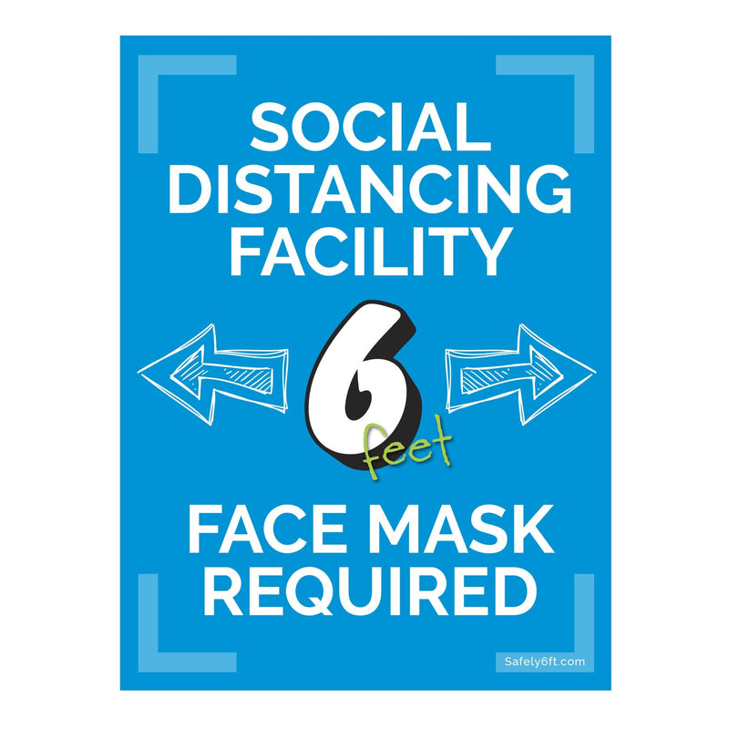 Education Face Mask Required Social Distancing Window, Wall & Door Sign