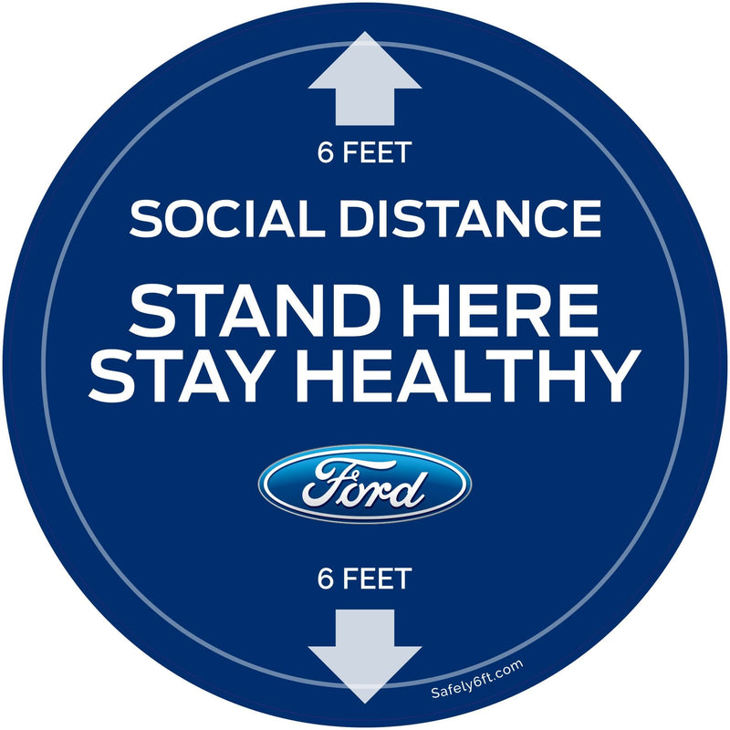 Ford Stand Here Stay Healthy Round Carpet Sign
