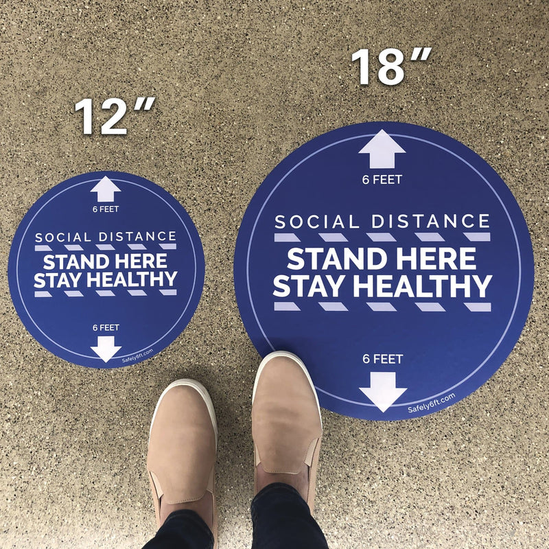 Round Stand Here Floor Sign