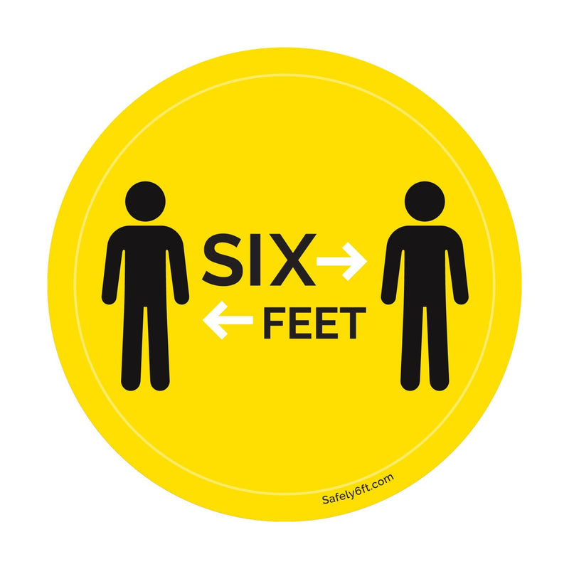 Round Six Feet with People Social Distancing Floor Sign