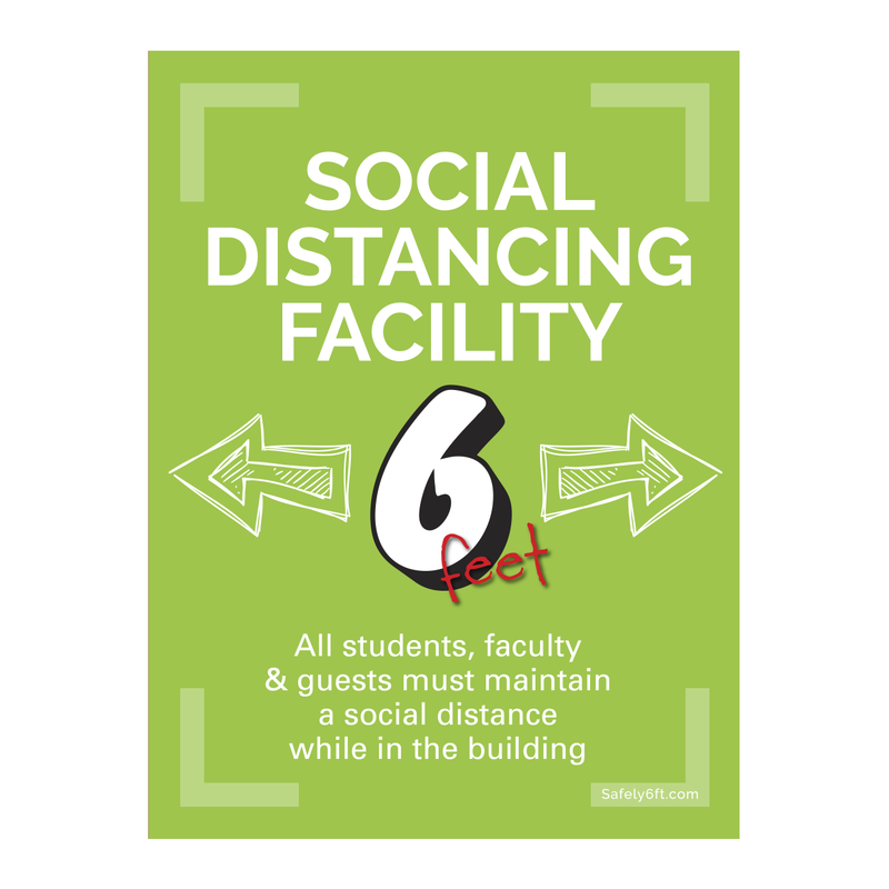 Education Social Distancing Facility Window, Wall & Door Sign