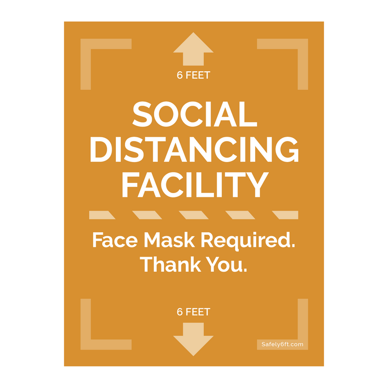 Social Distancing Face Mask Door & Window Sign