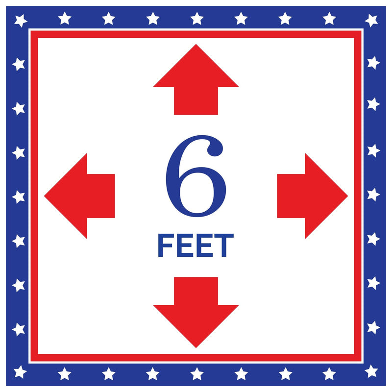 Patriotic Square 6FT with Arrows Social Distancing Floor Sign