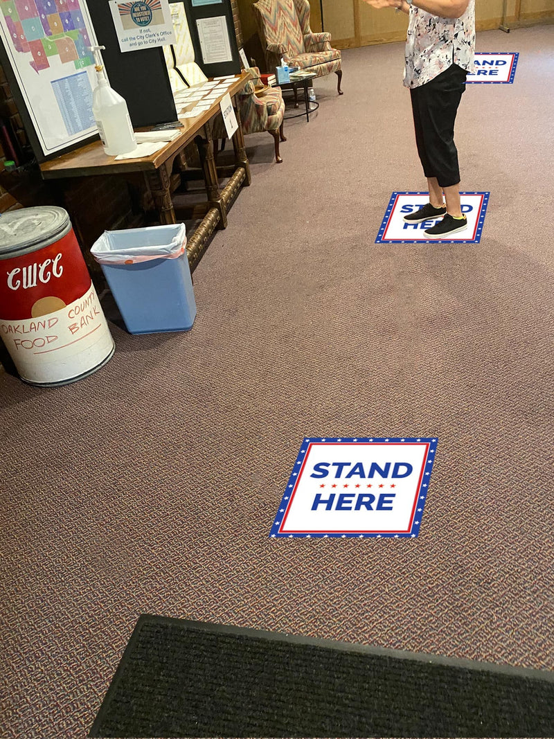 Patriotic Stand Here with Stars Social Distancing Carpet Sign