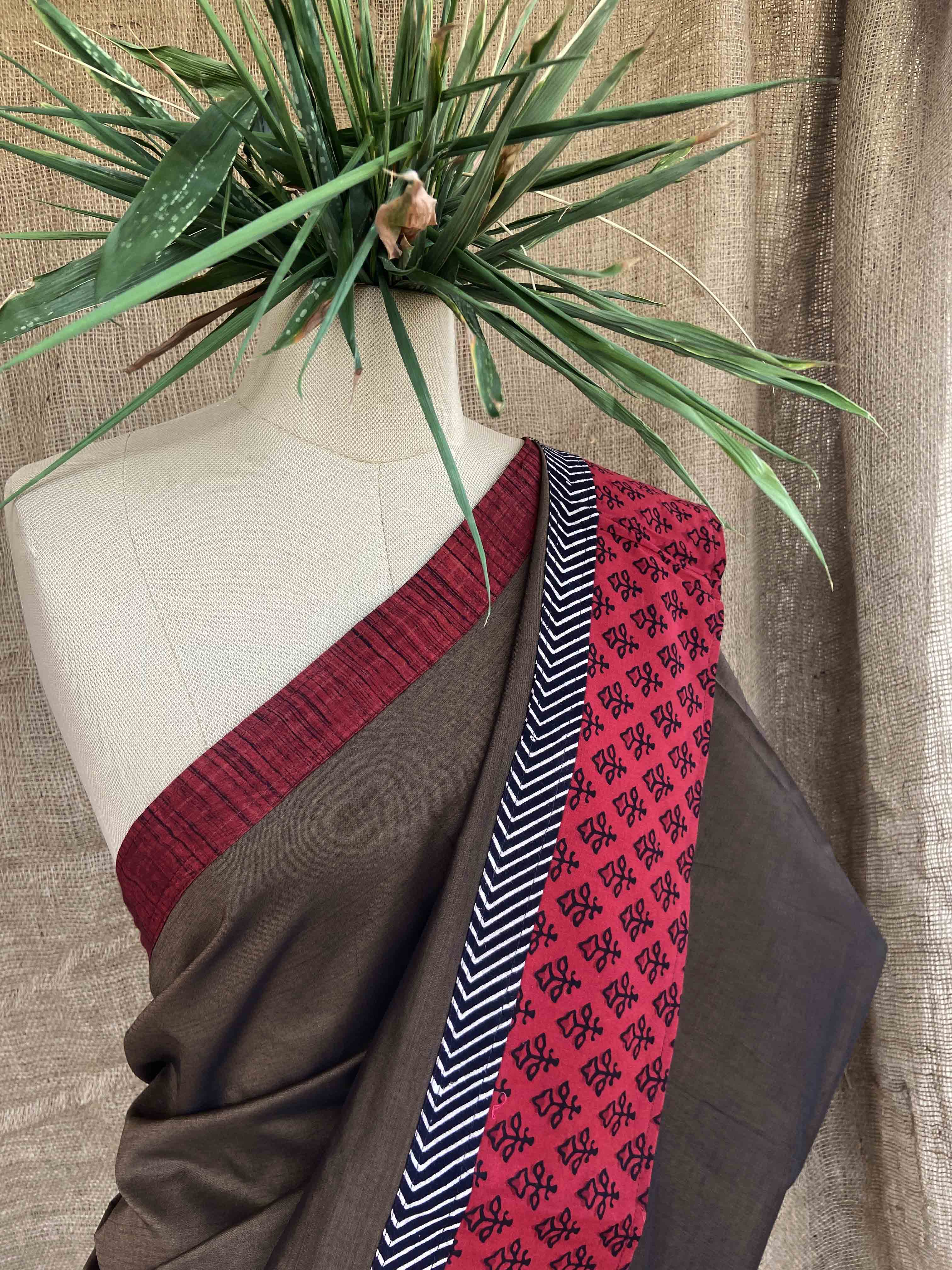 Patched Saree Dark Coffee