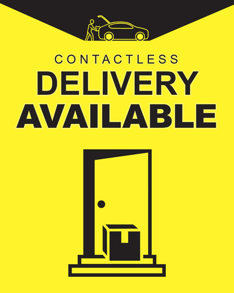 Contactless Delivery Sign 2 - Yellow - Set of 5