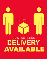 Contactless Delivery Sign 1 - Red - Set of 5