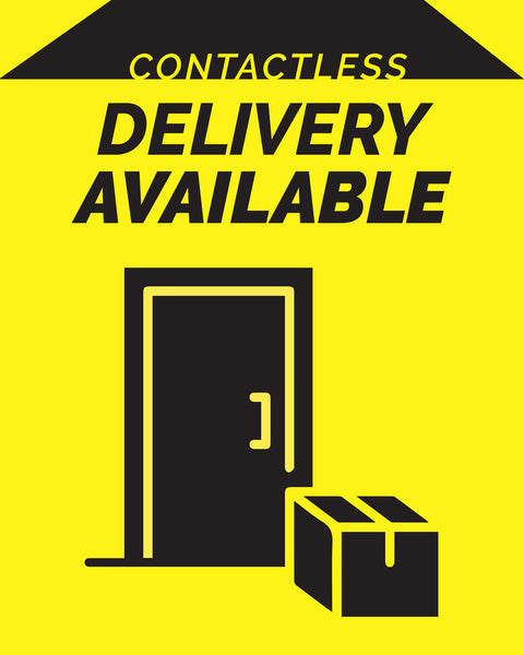 Contactless Delivery Sign 3 - Yellow - Set of 5