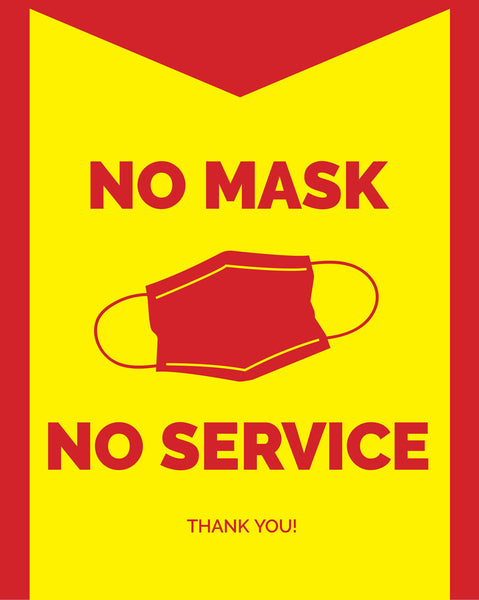 No Mask, No Service Sign - 2 - Red - Set of 5