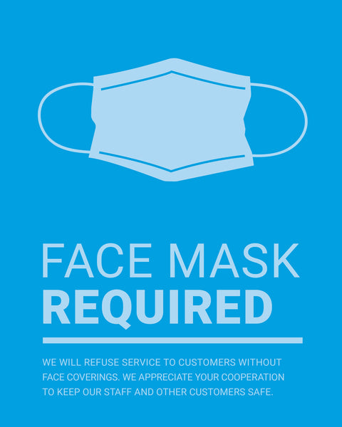 Mask Required Sign - 1 - Blue - Set of 5