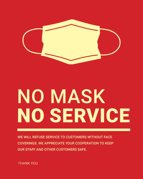 No Mask, No Service Sign - 3 - Red - Set of 5