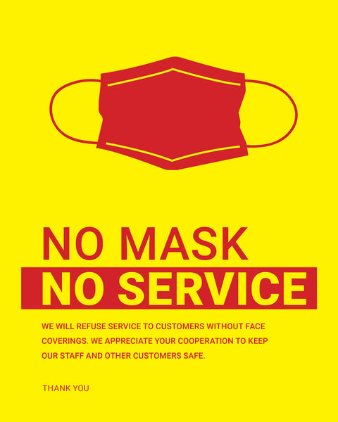 No Mask, No Service Sign - 3 - Yellow - Set of 5