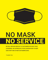 No Mask, No Service Sign - 3 - Yellow/Black