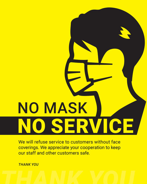 No Mask, No Service Sign - 4 - Yellow/Black - Set of 5