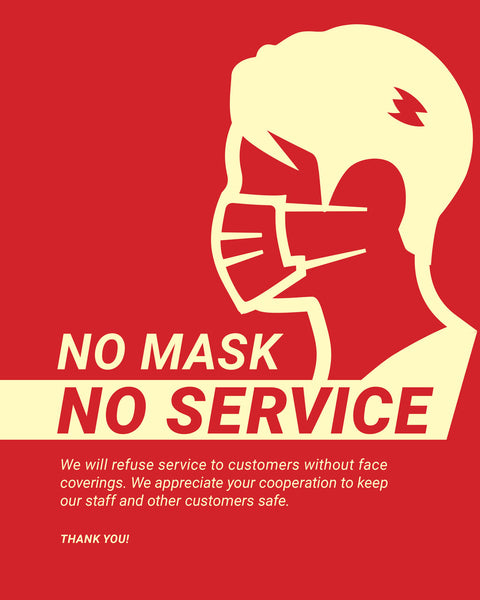 No Mask, No Service Sign - 4 - Red - Set of 5