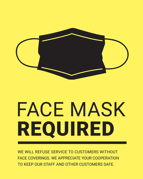 Mask Required Sign - 1 - Yellow - Set of 5