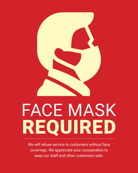 Mask Required Sign - 2 - Red - Set of 5